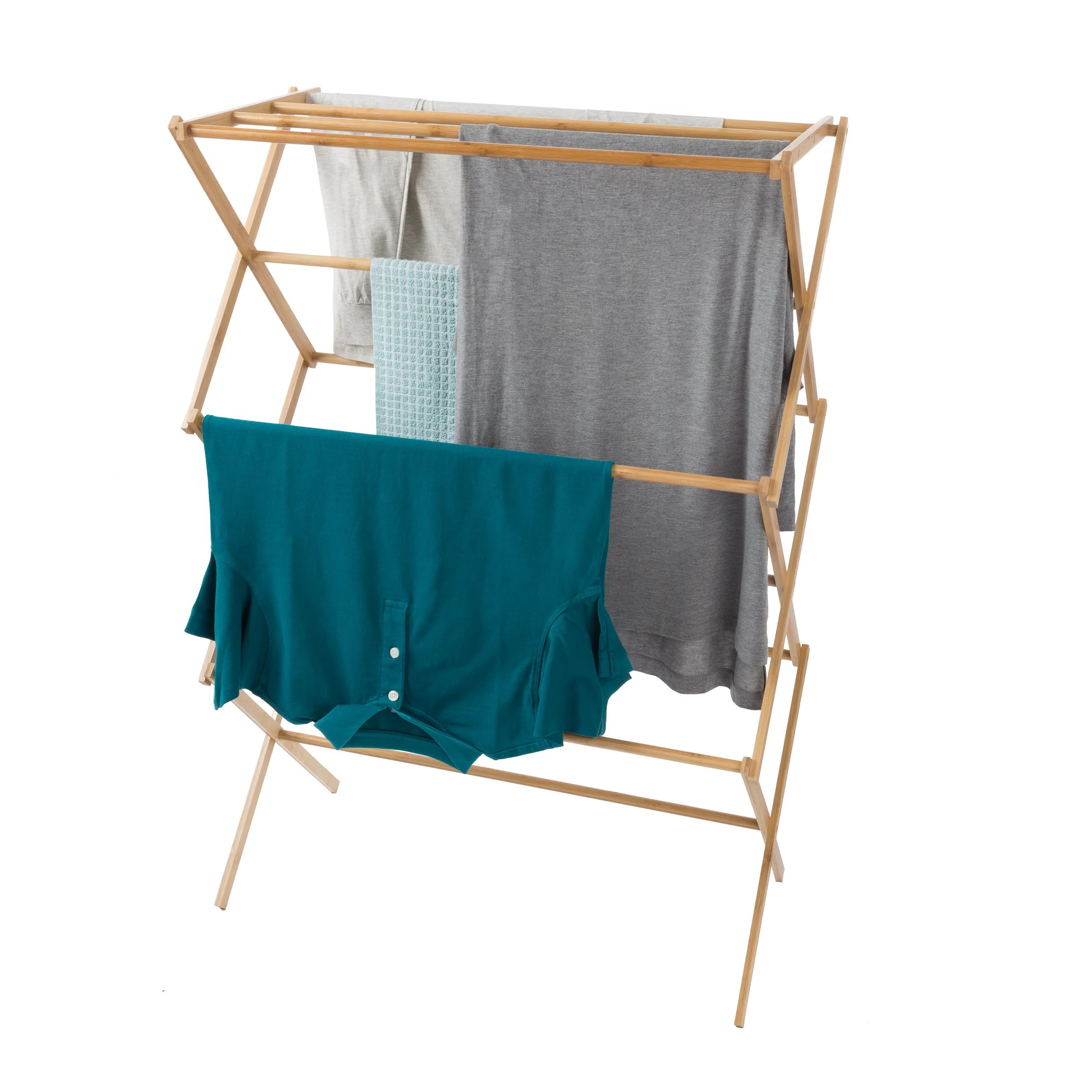 portable bamboo clothes drying rack collapsible and compact for indoor outdoor use by lavish home walmart com