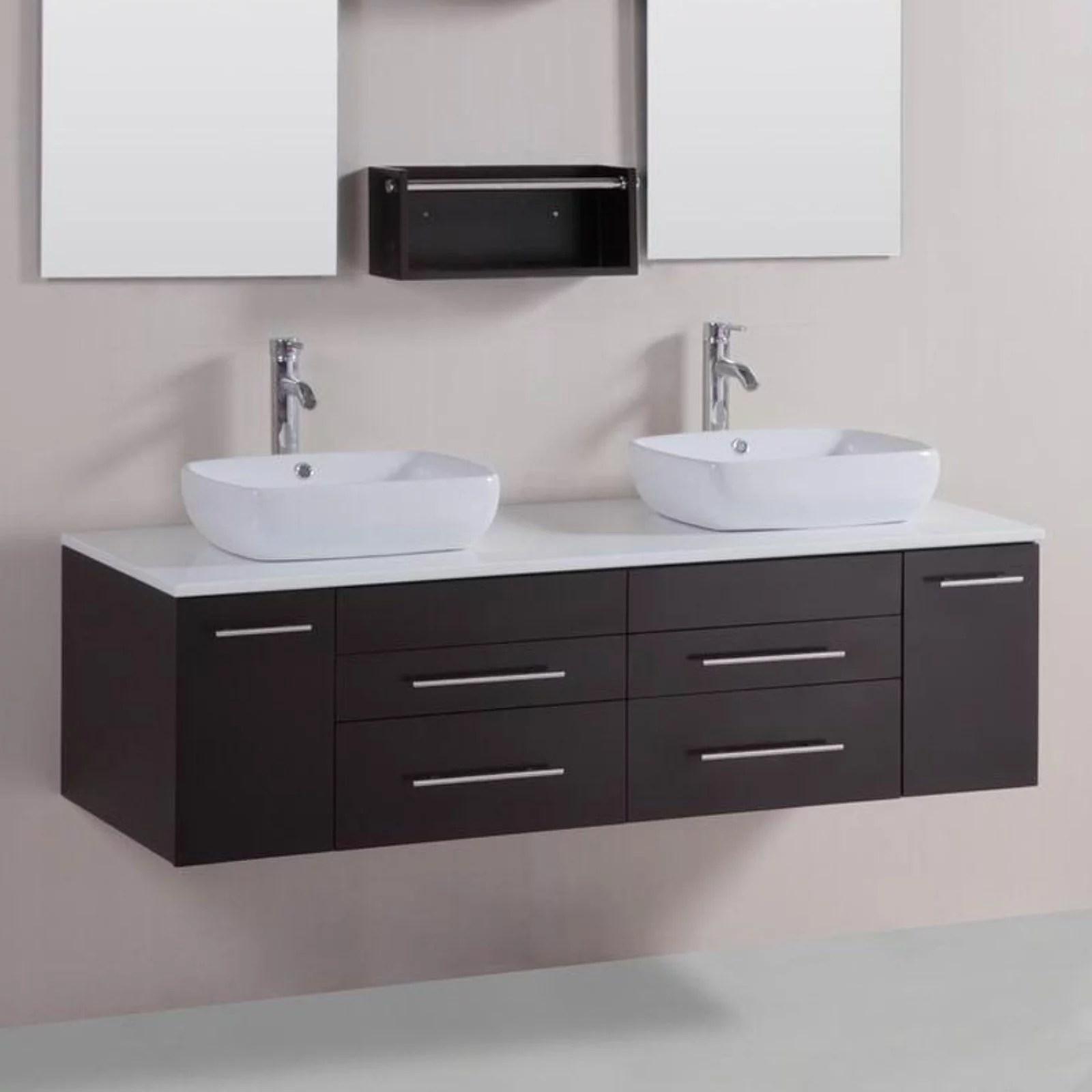 belvedere 60 in modern double vessel bathroom vanity with stone top