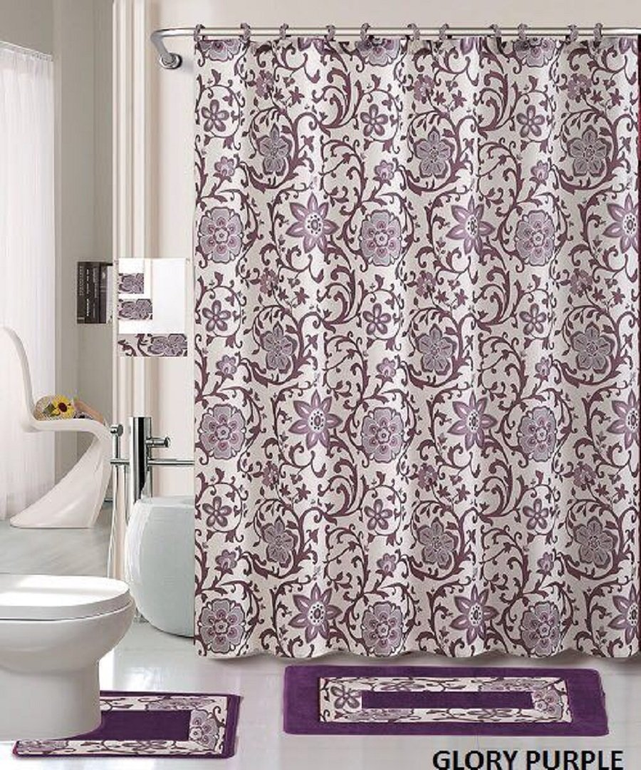 Pretty Bathroom Sets 18 Piece Bath Rug Set Lavender Purple Silver Grey Print Bathroom Rugs Shower Curtain Rings And Towels Sets Glory Purple