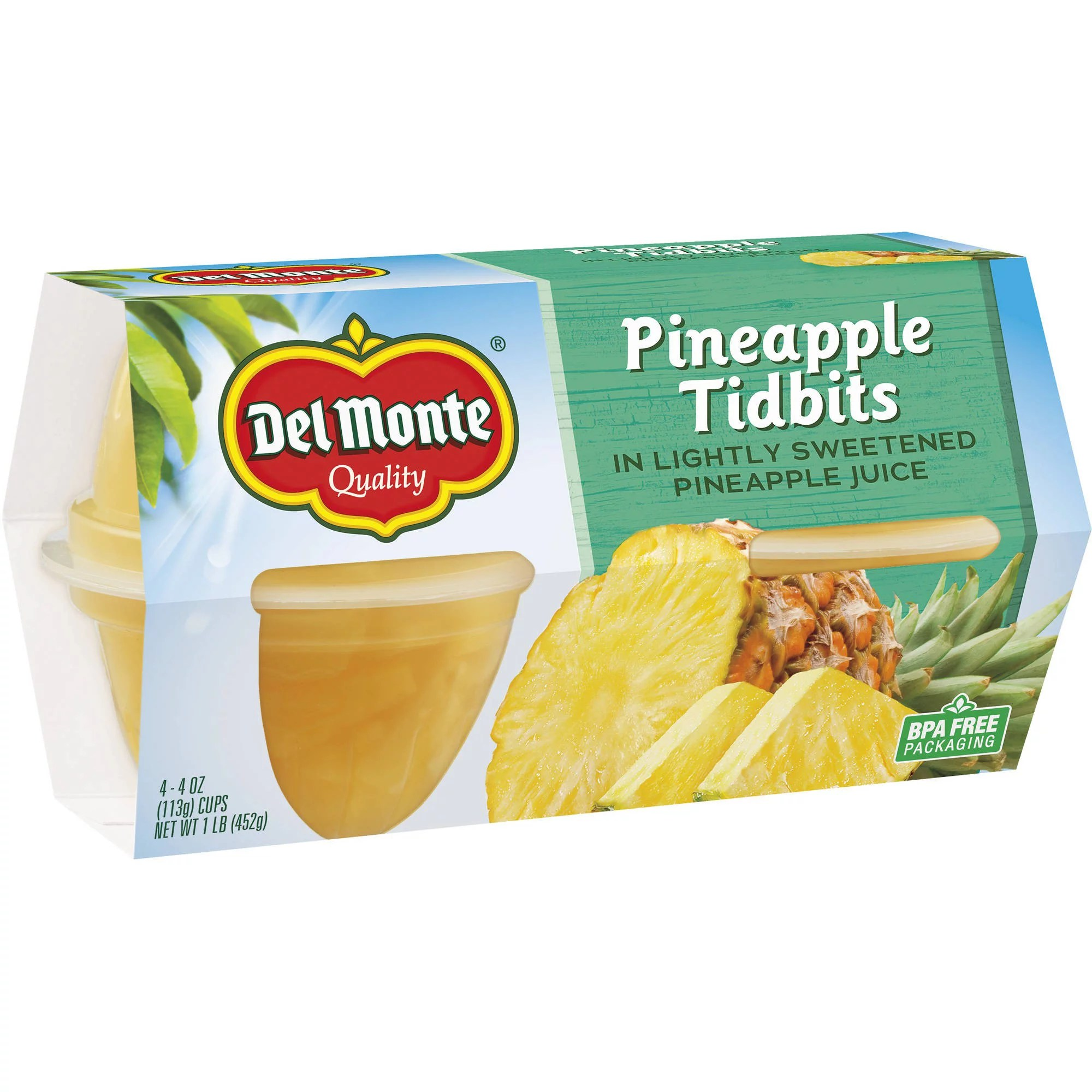 (4 Cups) Del Monte Pineapple Tidbits in Lightly Sweetened ...