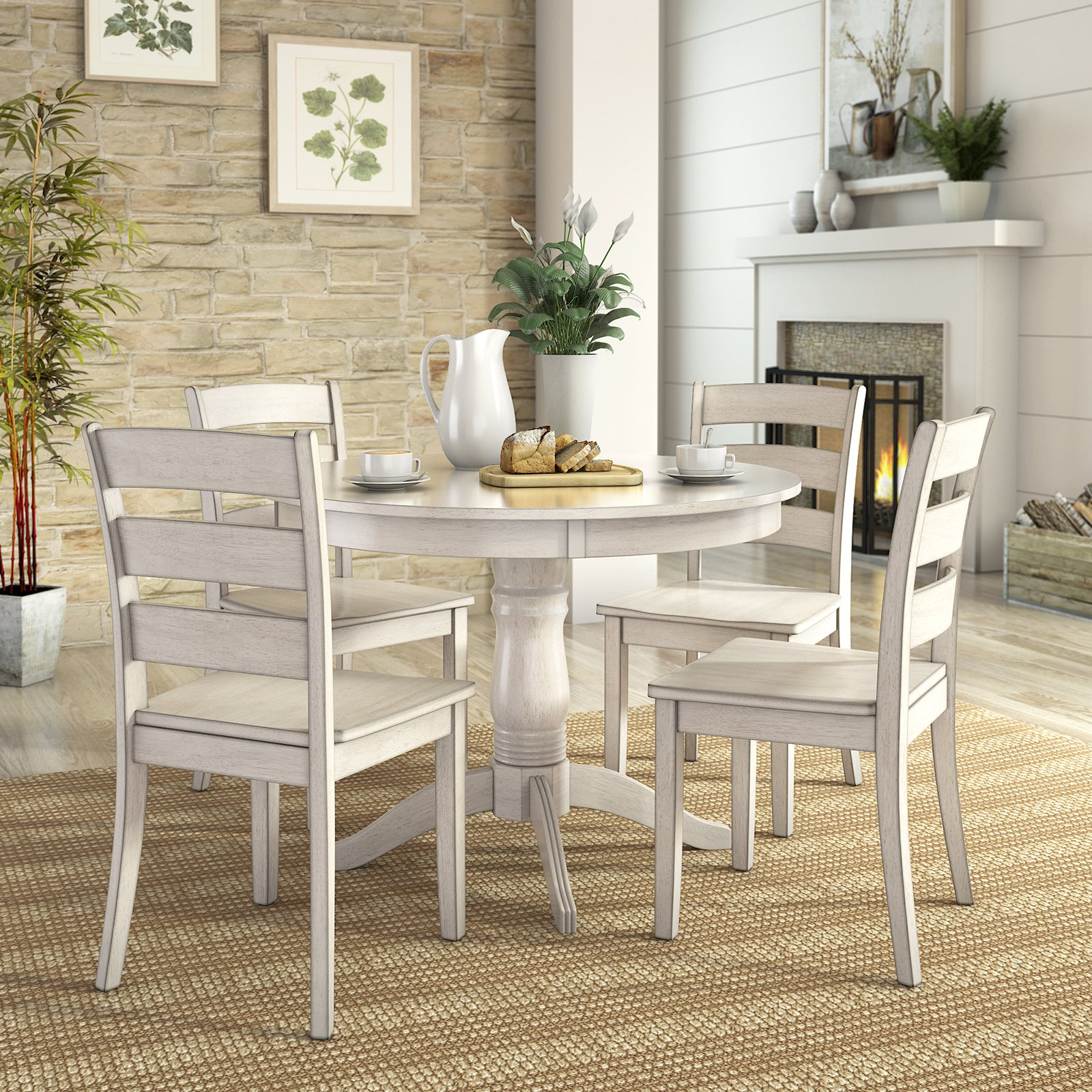 lexington dining chairs counter height chair 5 piece set with round table and 4 ladder back walmart com