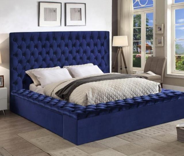 Meridian Furniture Bliss Traditional Navy Blue Velvet King Size Storage Bed Walmart Com