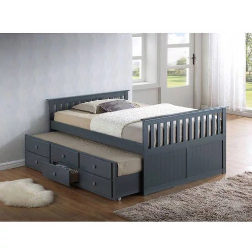 broyhill kids marco island full captains bed with twin trundle and storage drawer gray