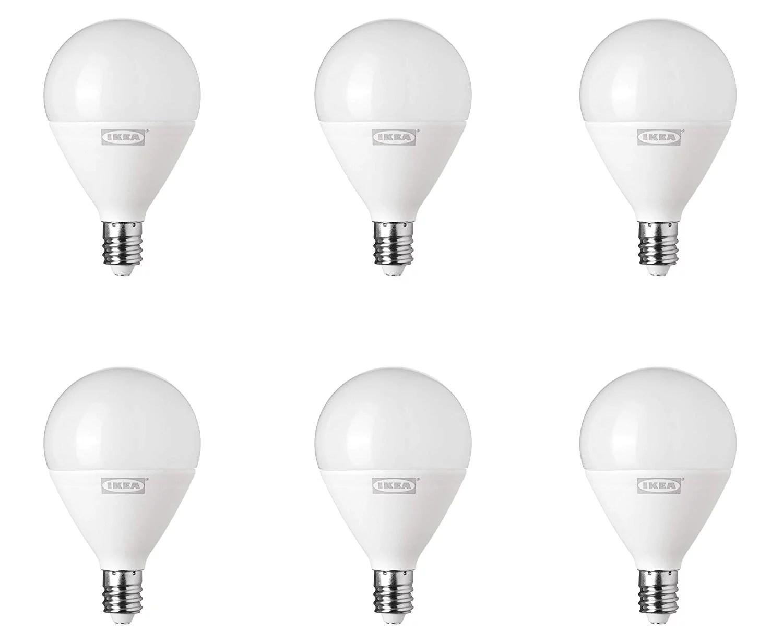 ikea ryet led e12 400 lm light bulb energy saving 5 watts 2700k soft white globe opal instant on non dimmable 6 pack