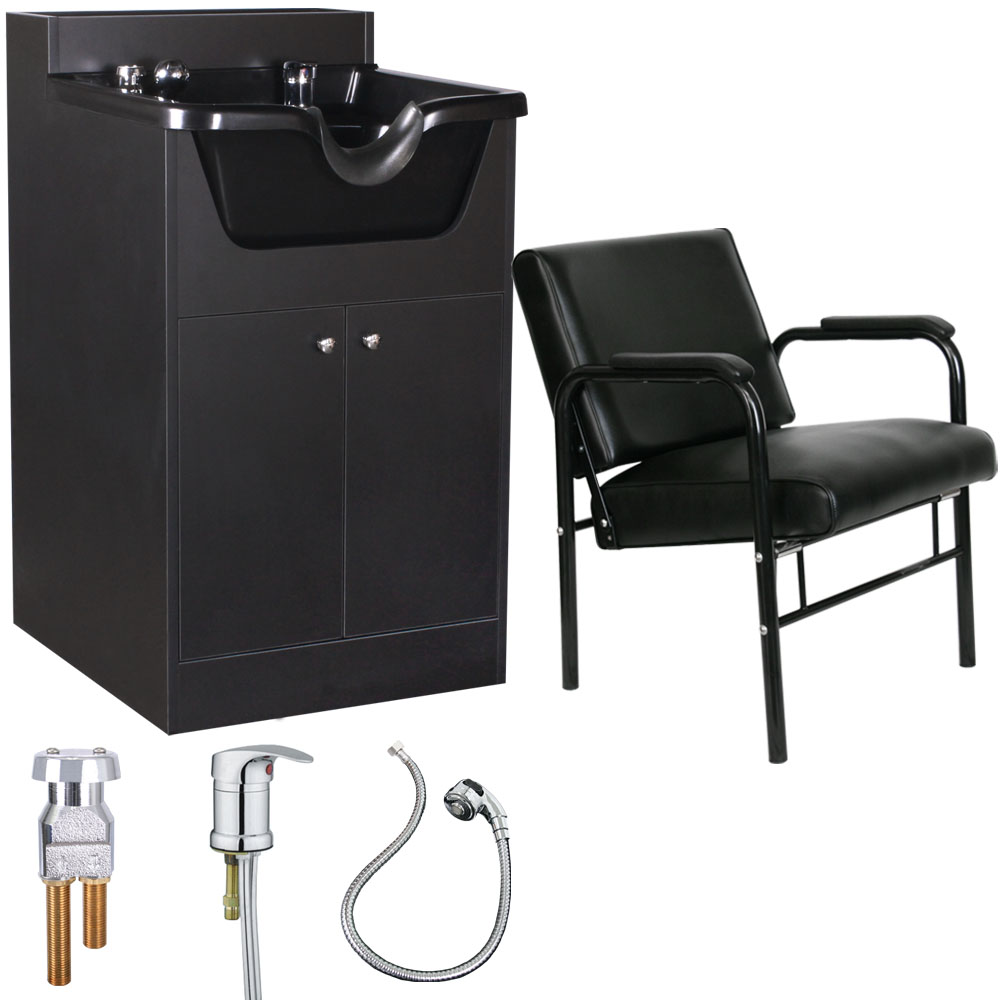 shampoo sink and chair ergonomic penang beauty salon equipment bowl cabinet with package su p5blk walmart com