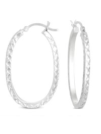 ONLINE - Diamond Cut Square Tube Large Hoop Earrings in ...