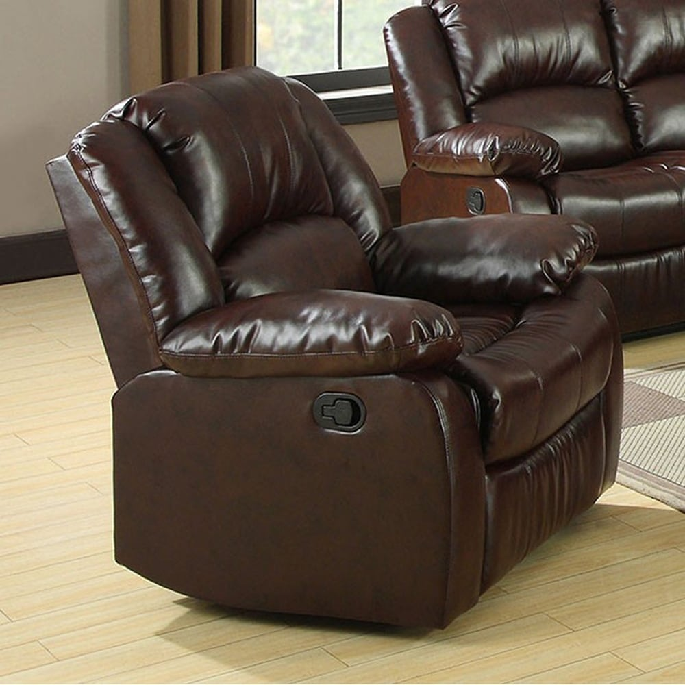 Rustic Leather Chairs Winslow Rustic Brown Bonded Leather Match Recliner Chair