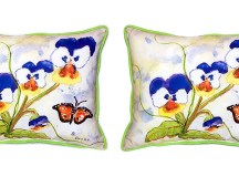 Pair of Betsy Drake Pansies Large Indoor/Outdoor Pillows ...