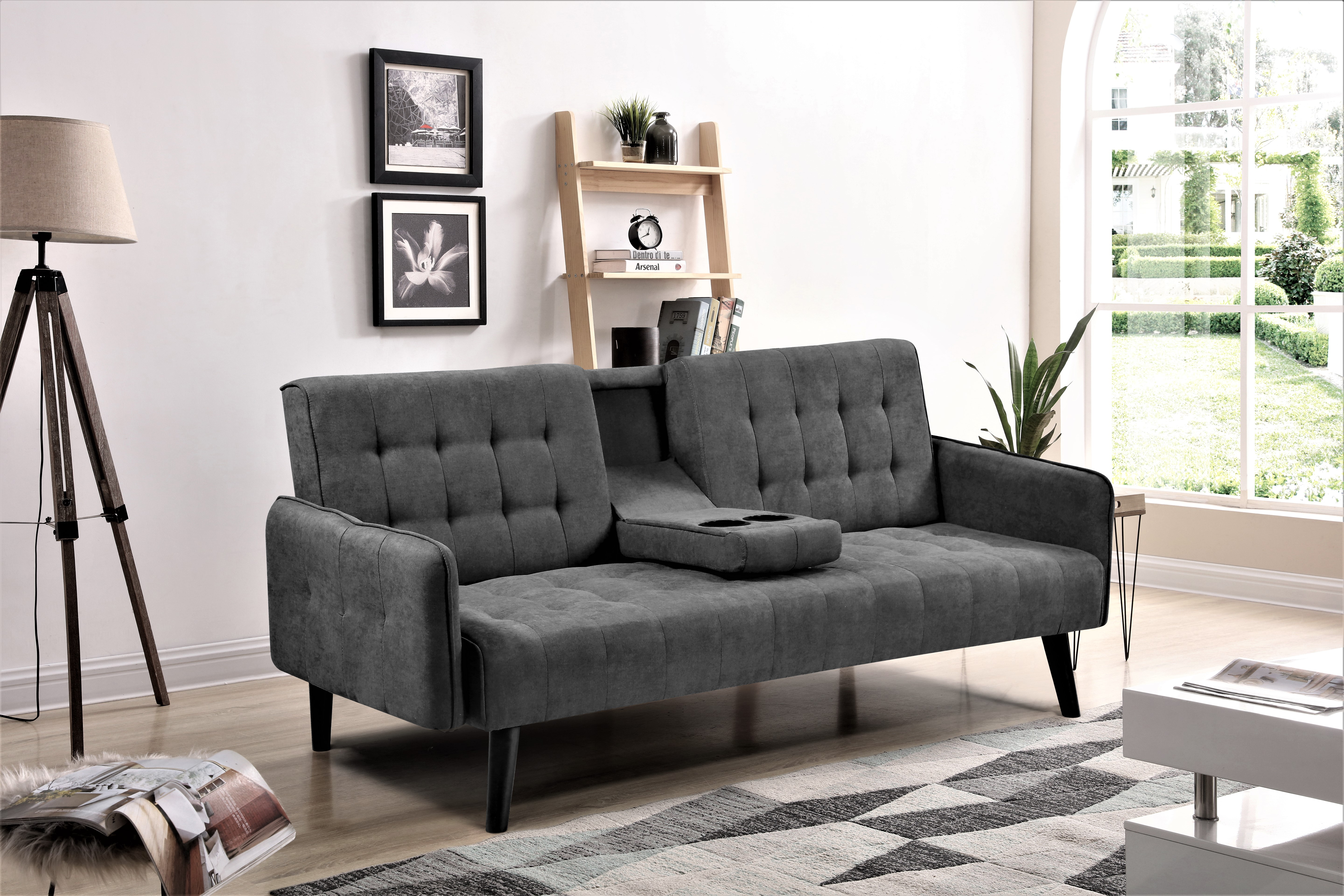 us pride furniture hash sofa bed dark gray