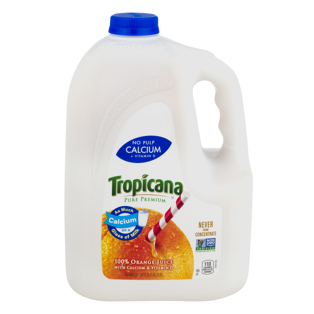 Tropicana 100 Orange Juice Calcium Vitamin D No Pulp