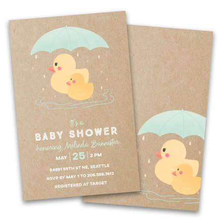 Personalized Mother Duck And Baby Shower Invitations