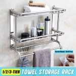 Wall Mounted Bathroom Shelf Unit Towel Rail Rack Image Of Bathroom And Closet