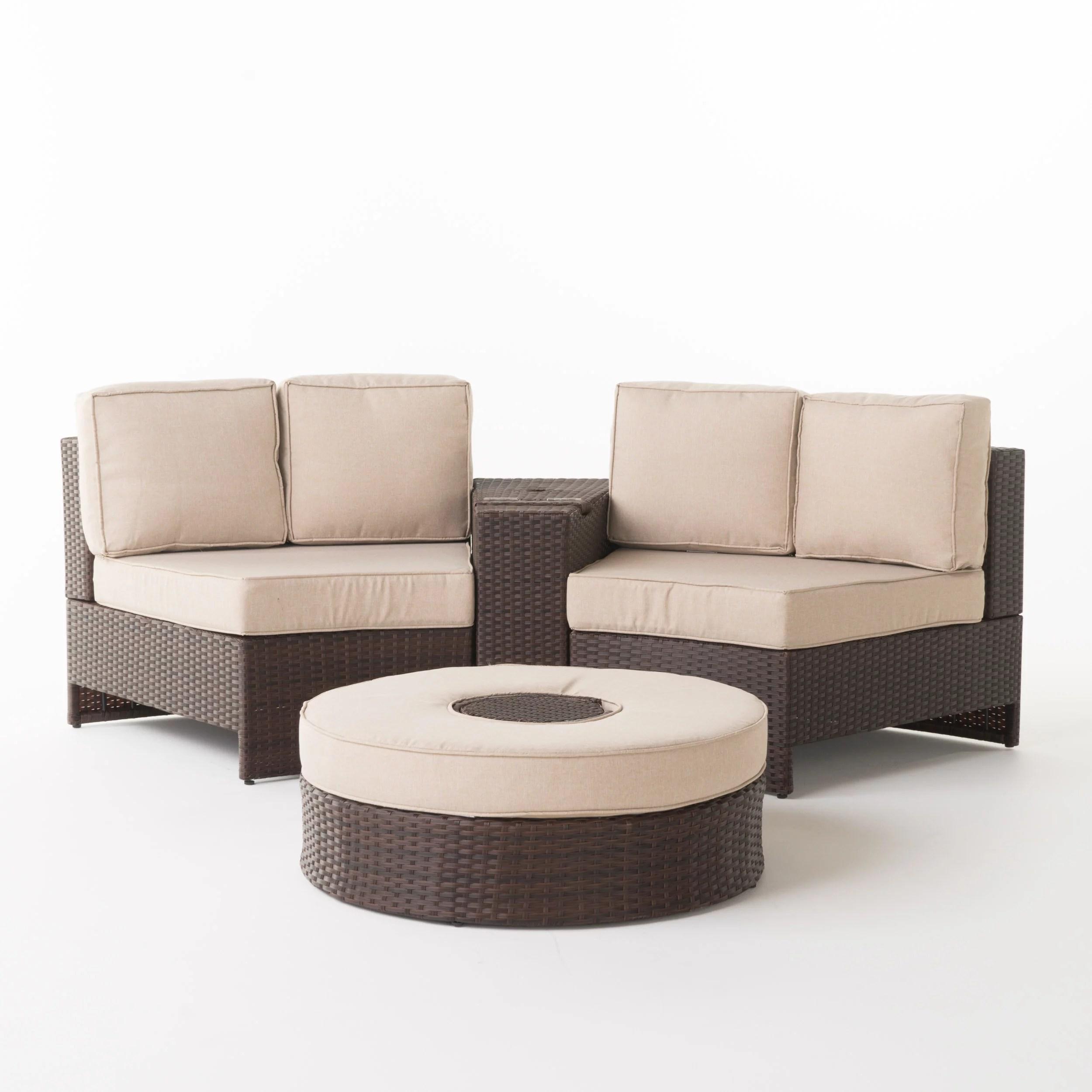 alicante outdoor wicker 4 piece semi circle seating set with ice bucket ottoman beige walmart com