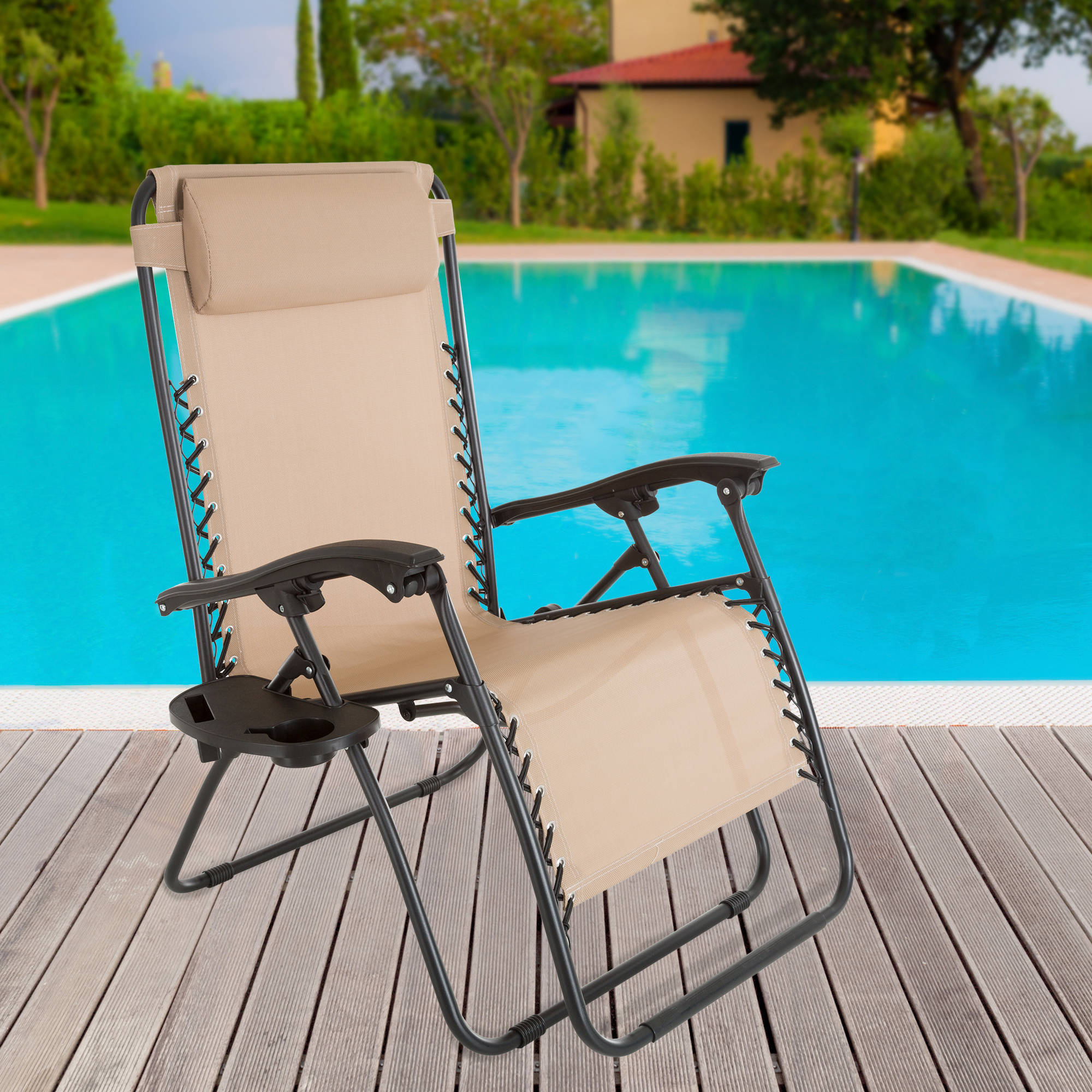 chair headrest pillow ergonomic hip flexors zero gravity outdoor reclining foldable lounge with and cup holder for ...
