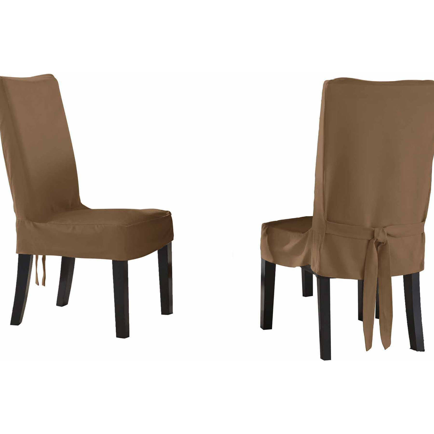 parsons chairs with skirt folding quad chair menards serta relaxed fit smooth suede furniture slipcover 2 pack dining short walmart com