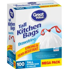 Tall Kitchen Bags Ways To Conserve Water In The Great Value Drawstring 13 Gallon White 100 Ct Walmart Com
