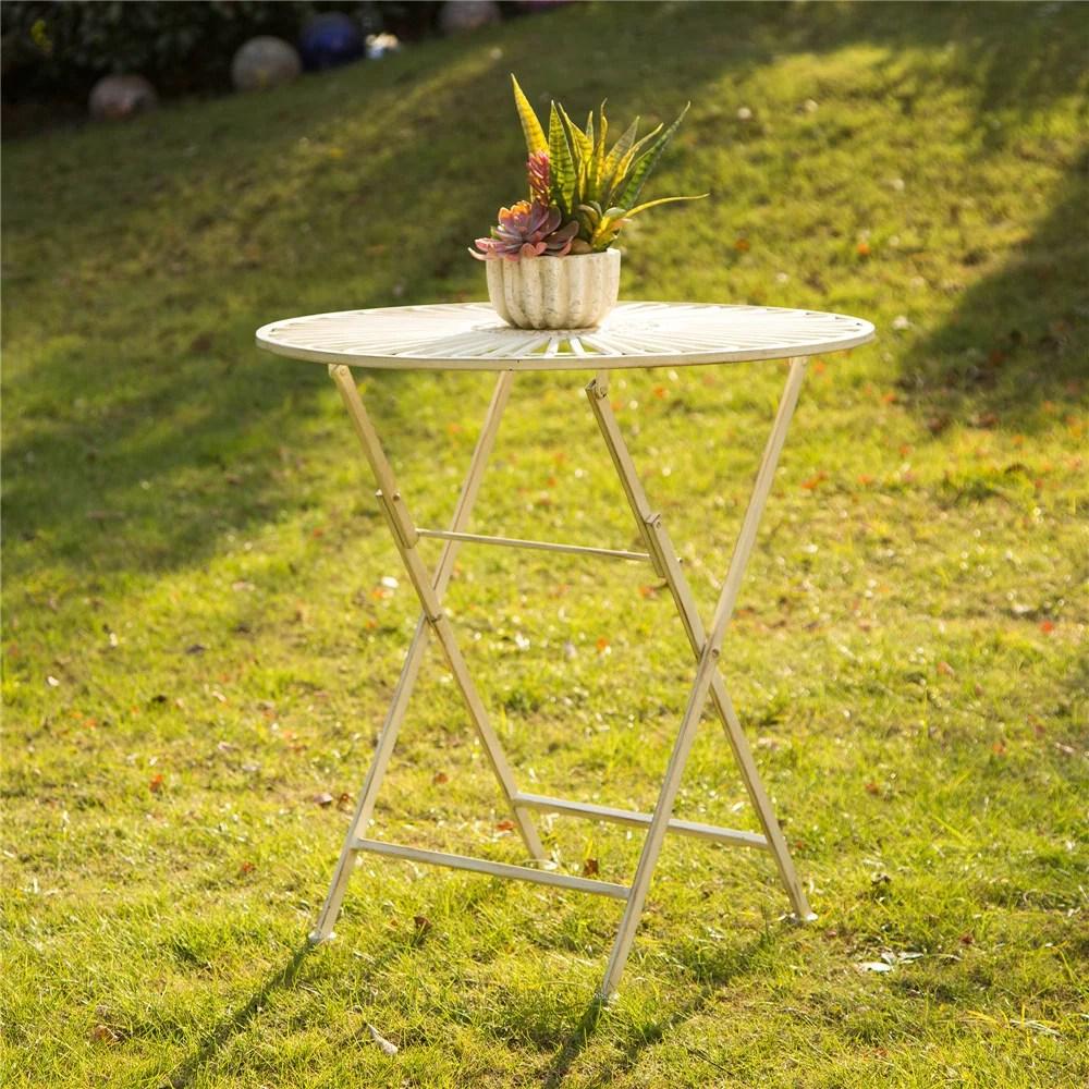 glitzhome vintage outdoor round folding metal patio table antique white walmart com