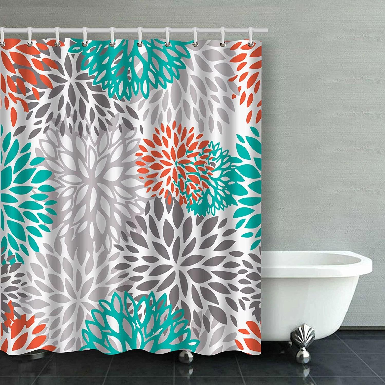 artjia orange gray and turquoise white dahlia bathroom shower curtain 60x72 inches walmart com