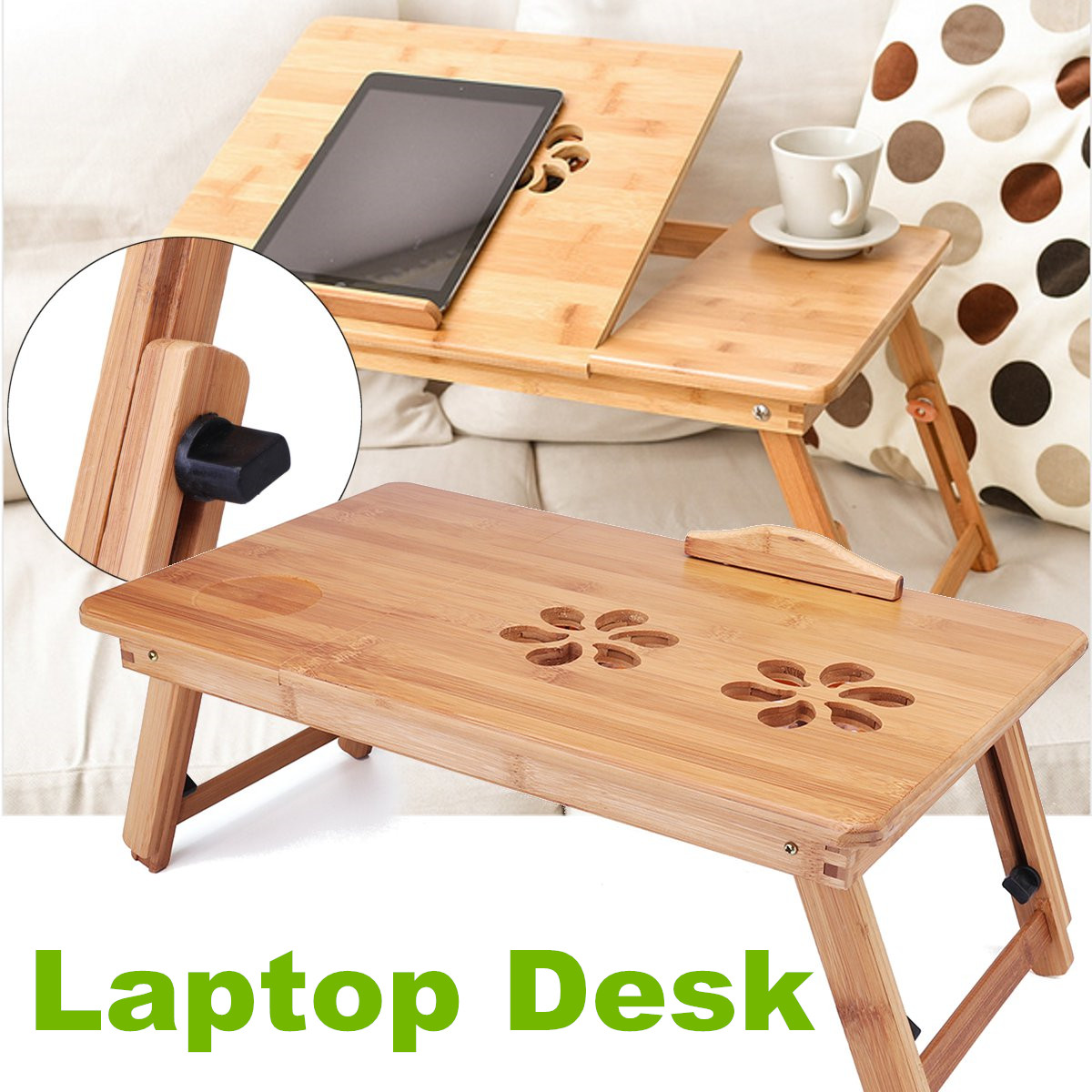 Portable Folding Lap Desk Bamboo Laptop Breakfast Tray Bed Table Stand With Fan Walmart Canada