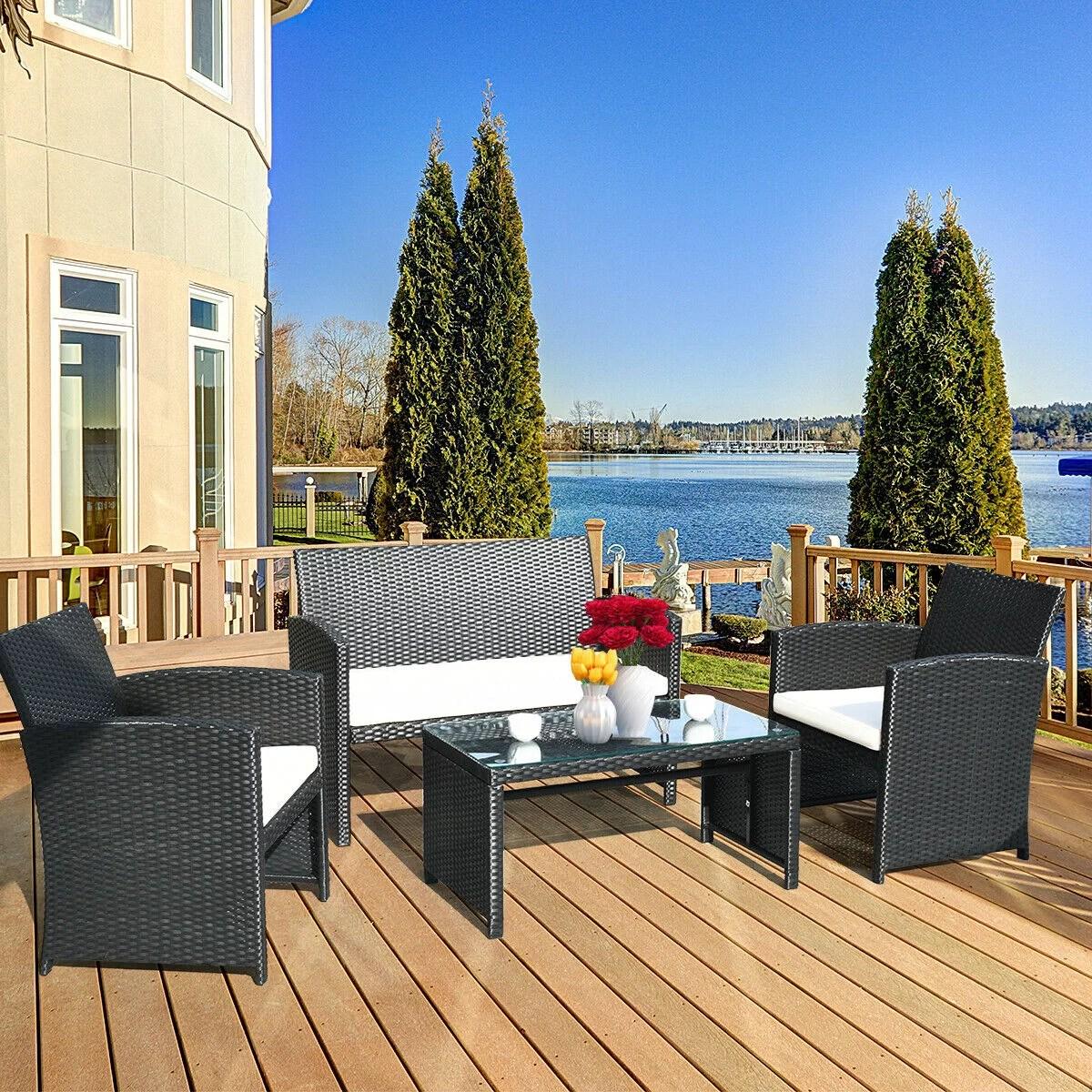 costway 4 pc rattan patio furniture set garden lawn sofa rattan wicker with white cushions walmart com