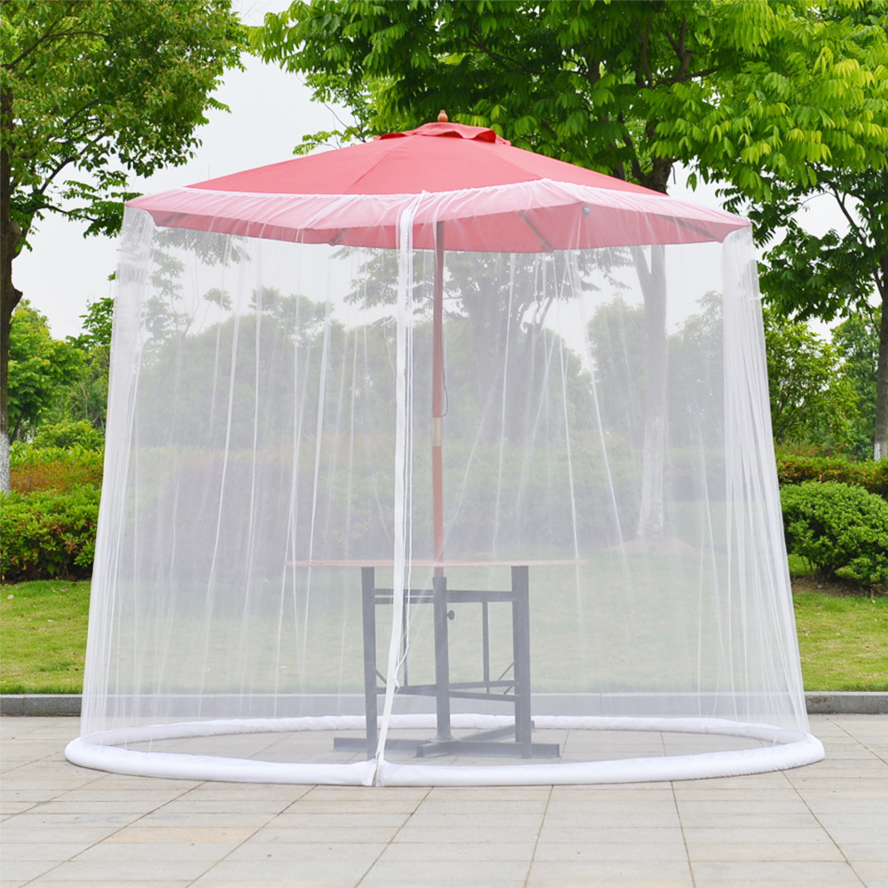 patio umbrella cover mosquito netting screen with zippered mesh enclosure white