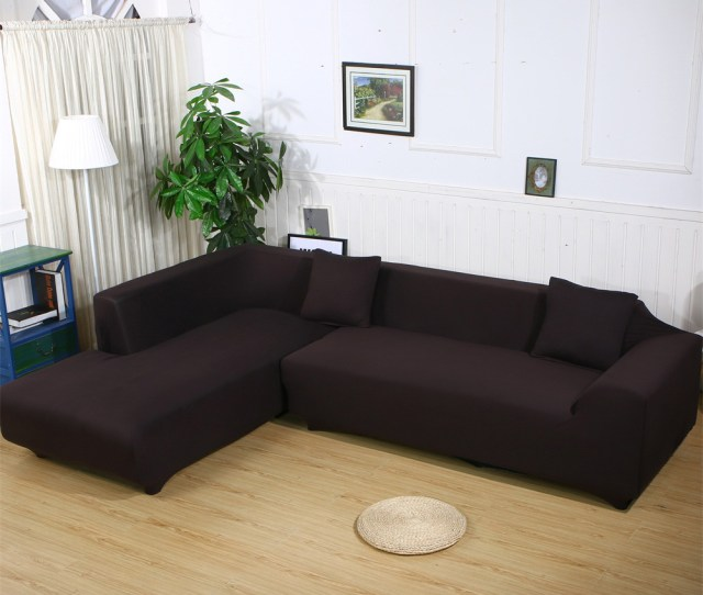 Sofa Covers For L Shape 2pcs Polyester Fabric Stretch Slipcovers 3 Seater70