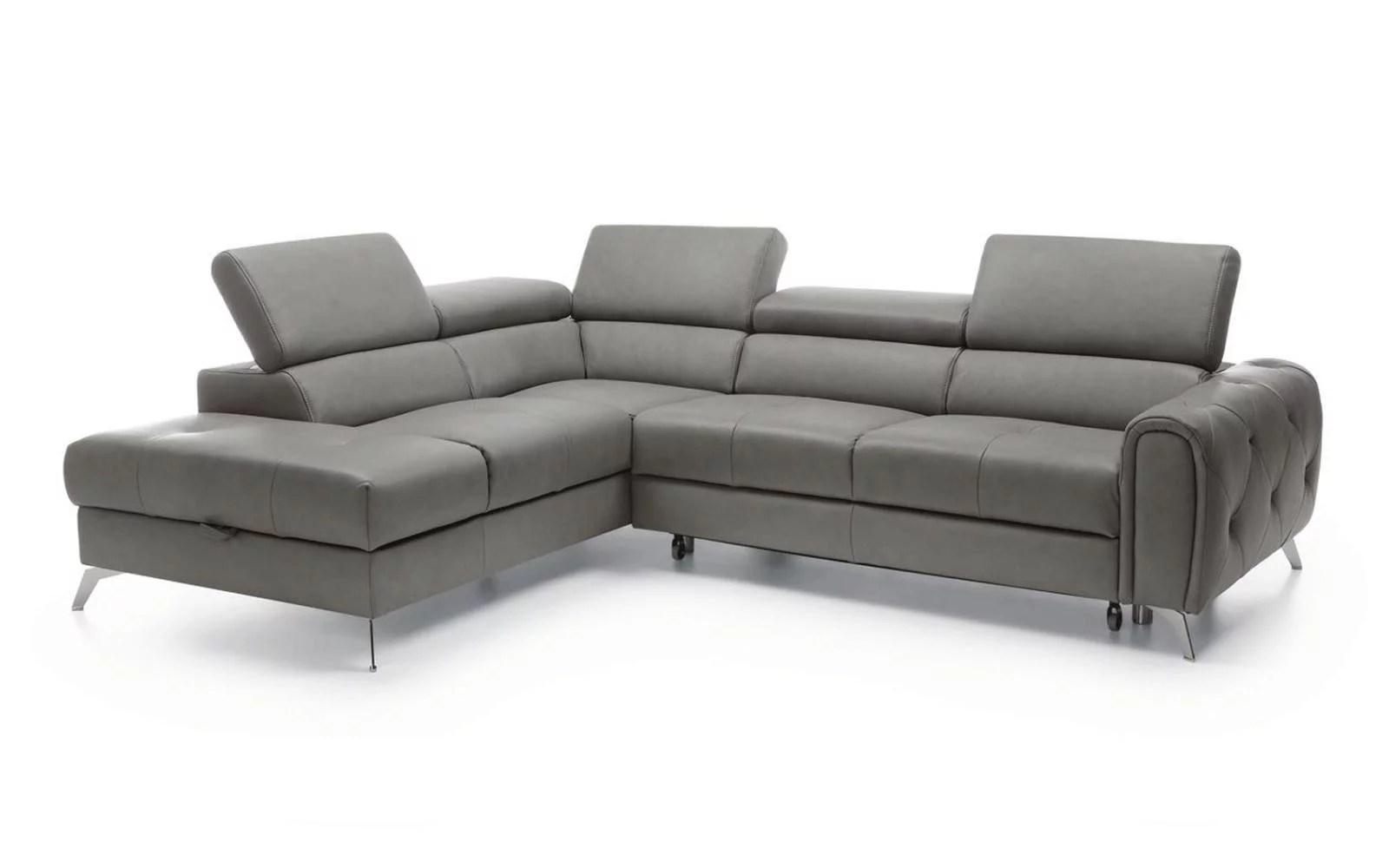 grey italian genuine leather sectional sofa bed storage modern left soflex camelia