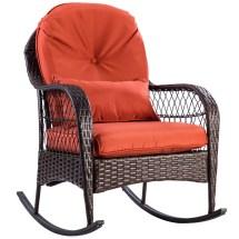 Gymax Patio Rattan Wicker Rocking Chair Porch Deck Rocker