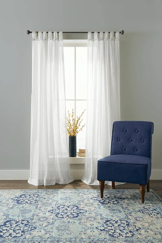 better homes gardens arusha solid sheer tab top single curtain panel white 50 x 63 walmart com