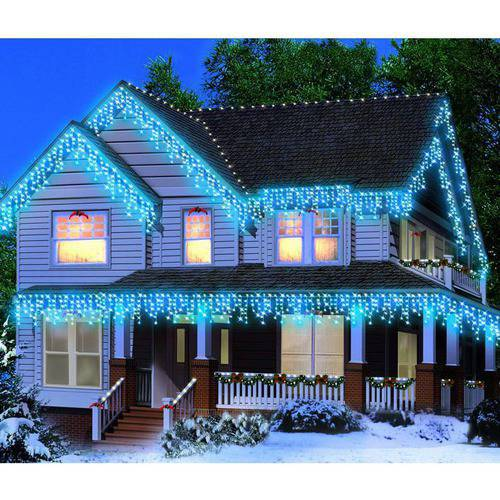 Holiday Time Icicle Light Set White Wire Blue Bulbs 300