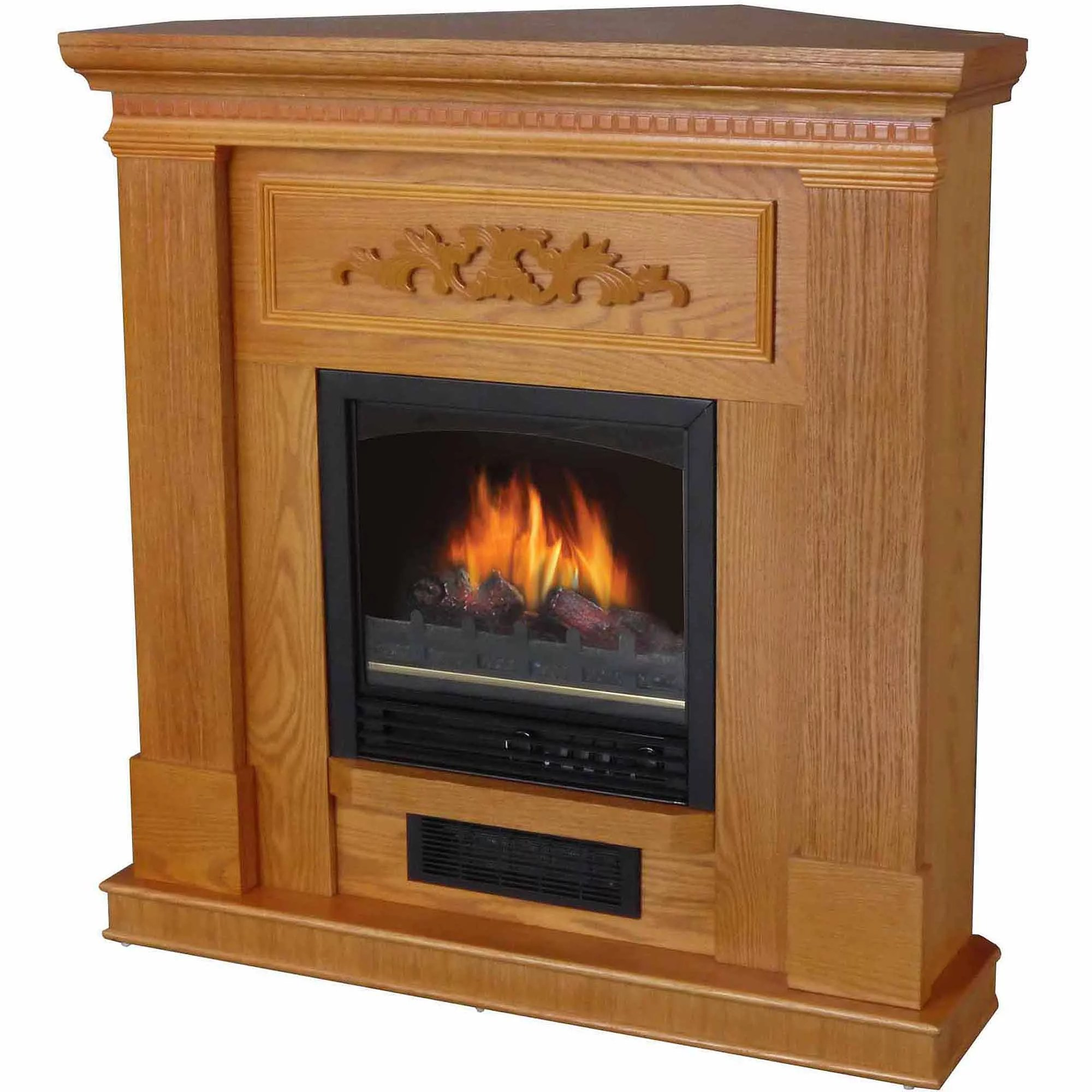 DecorFlame Electric Space Heater Fireplace with 38 Mantle Oak  Walmartcom