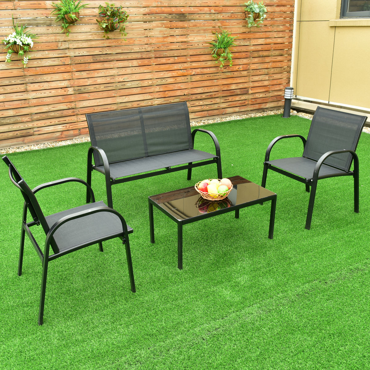 steel frame sofa ikea sectional costway 4 pcs patio furniture set coffee table garden deck black