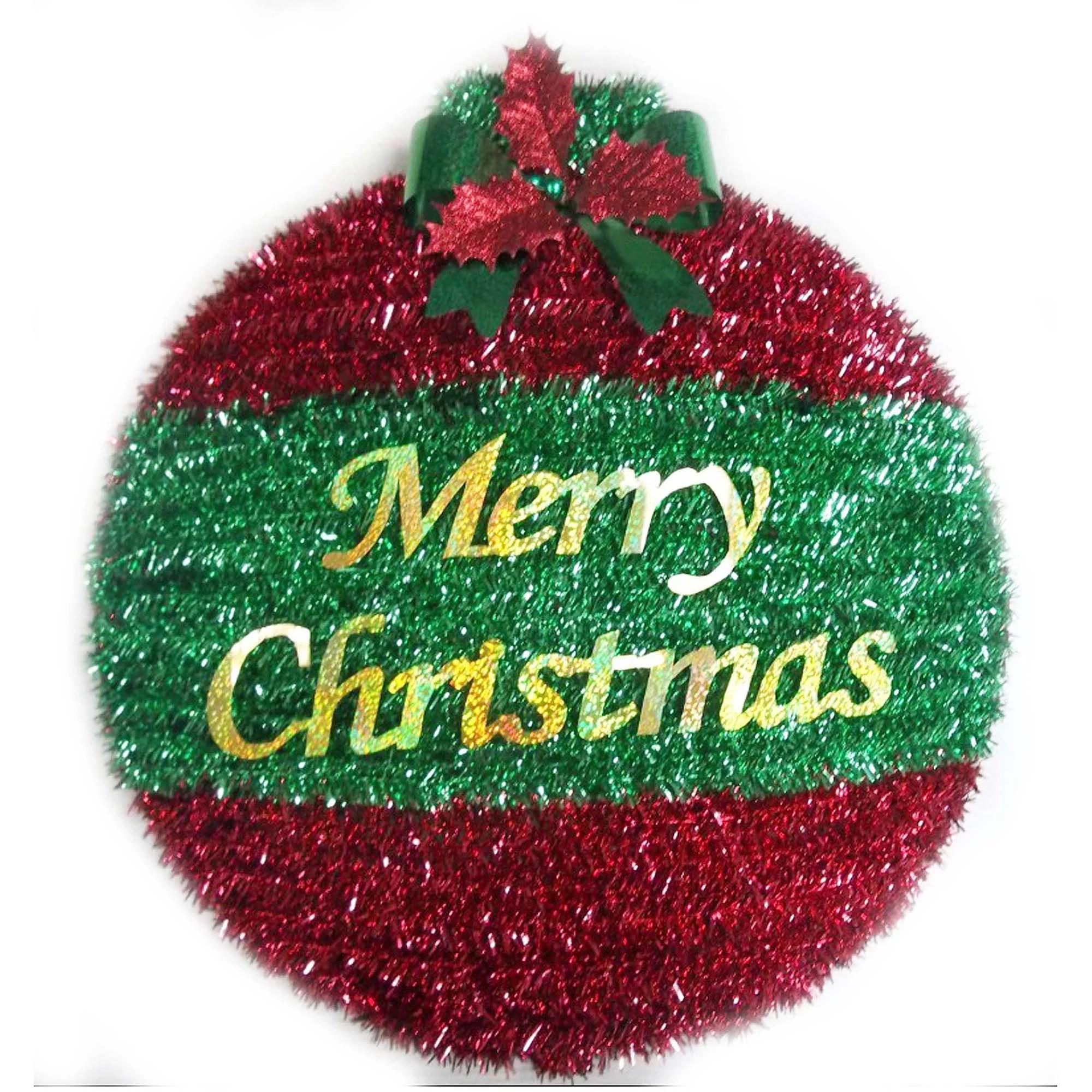 "18"" 2D Round Tinsel Ornament Wreath Decoration"