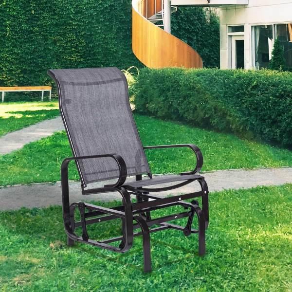 Vintage Glider Rocker Chair Steel Frame Patio Gliders Outdoor Garden Backyard Lawn