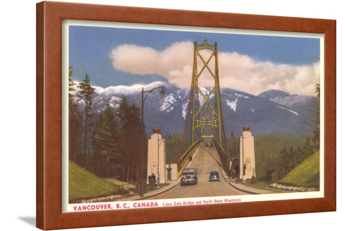 Lions Gate Bridge Vancouver British Columbia Framed