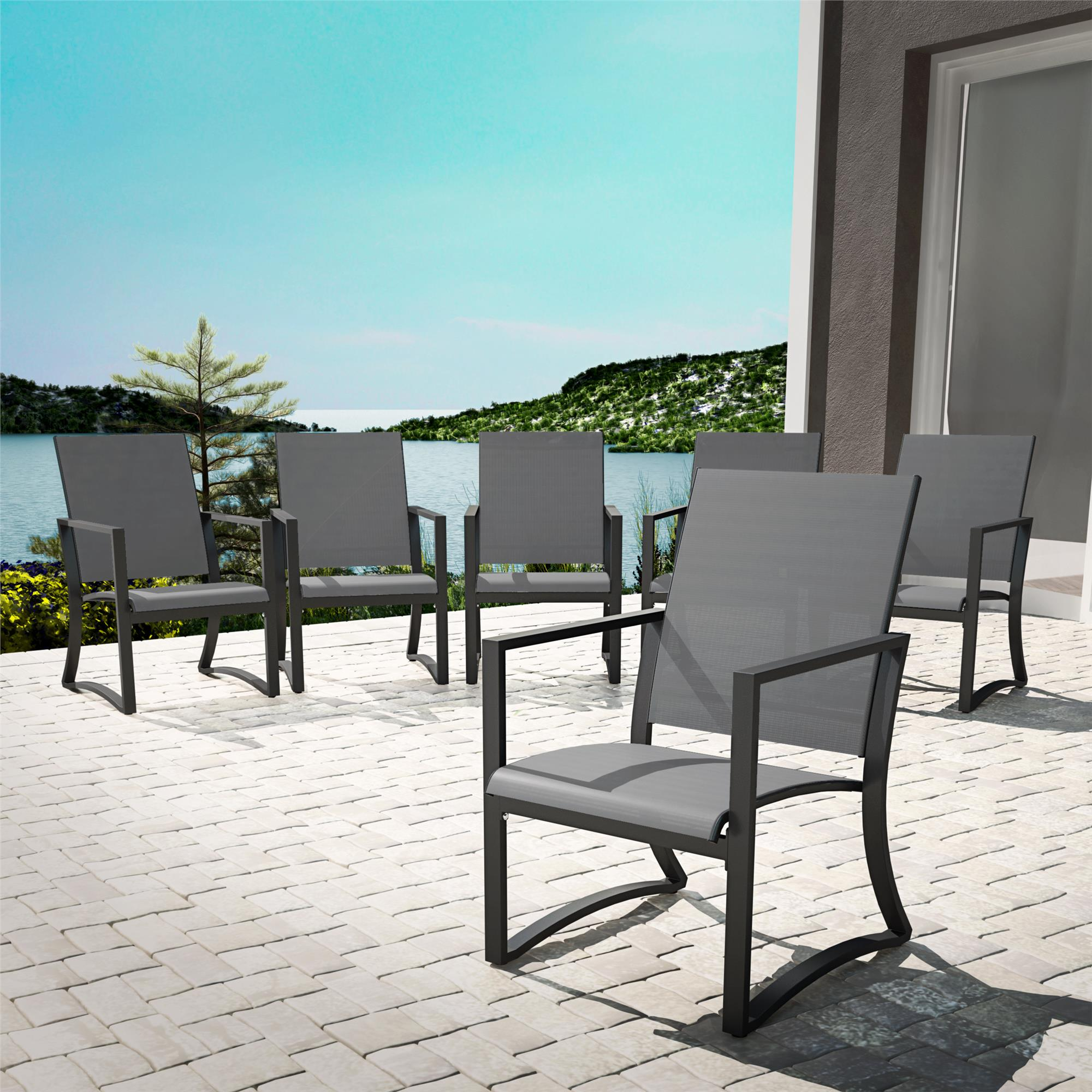cosco outdoor furniture patio dining chairs 6 pack steel light gray sling walmart com