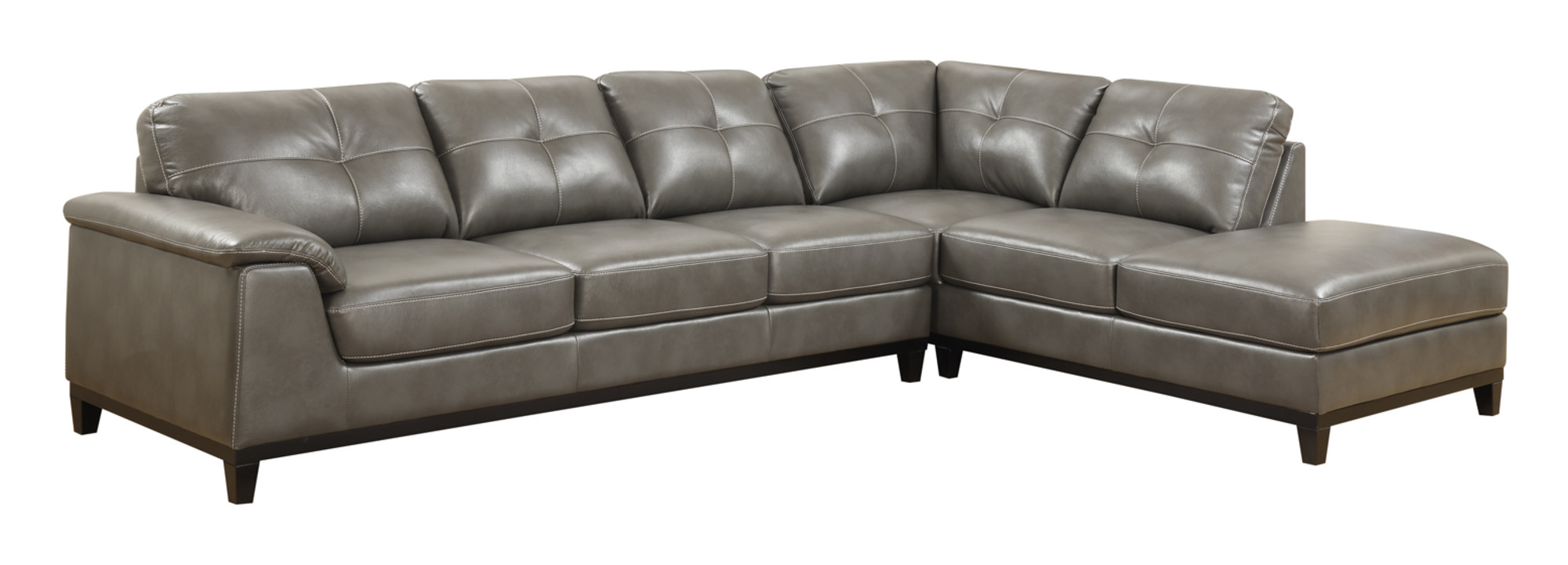 justin ii fabric reclining sectional sofa sofas usados baratos olx emerald home marquis gray with faux leather upholstery padded arms and contrast stitching walmart com