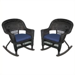 Black Wicker Rocking Chair Outdoor Recliner Lift Chairs Sam S Club Jeco Rocker In With Blue Cushion Set Of 2