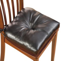 Thick Chair Cushions Christmas Covers B&m Faux Leather Padded Cushion With Ties For Extra Height Comfort And Support Walmart Com