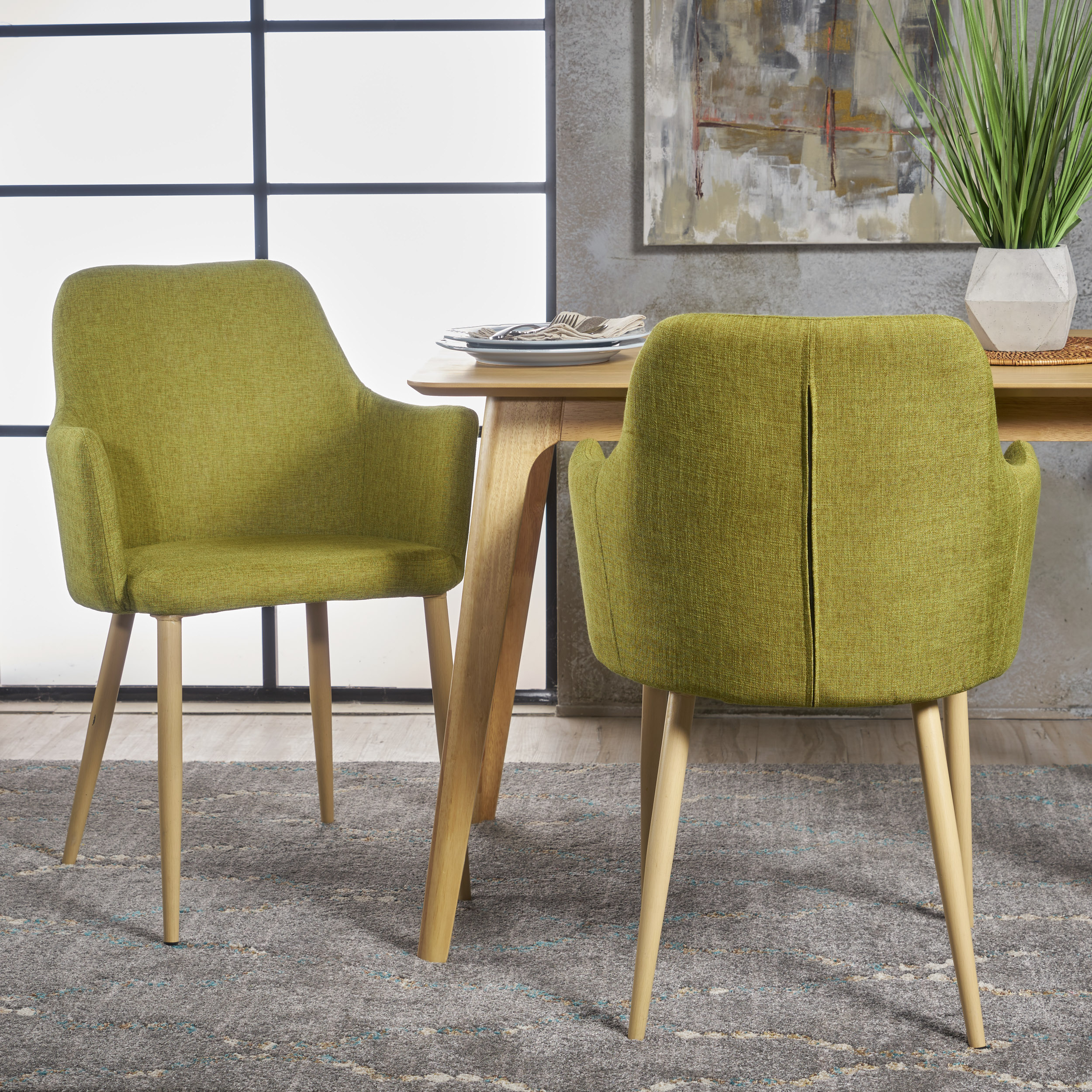 dining chairs fabric room chair covers dunelm noble house nina mid century green set of 2 walmart com