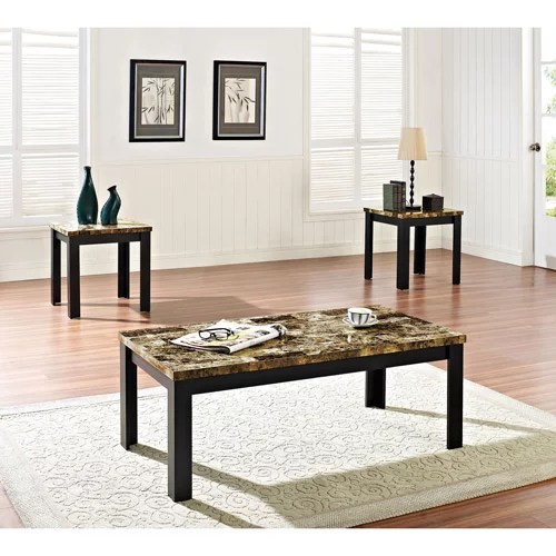 3 piece table set for living room pictures of accessories acme finely coffee and end dark brown faux marble black walmart com