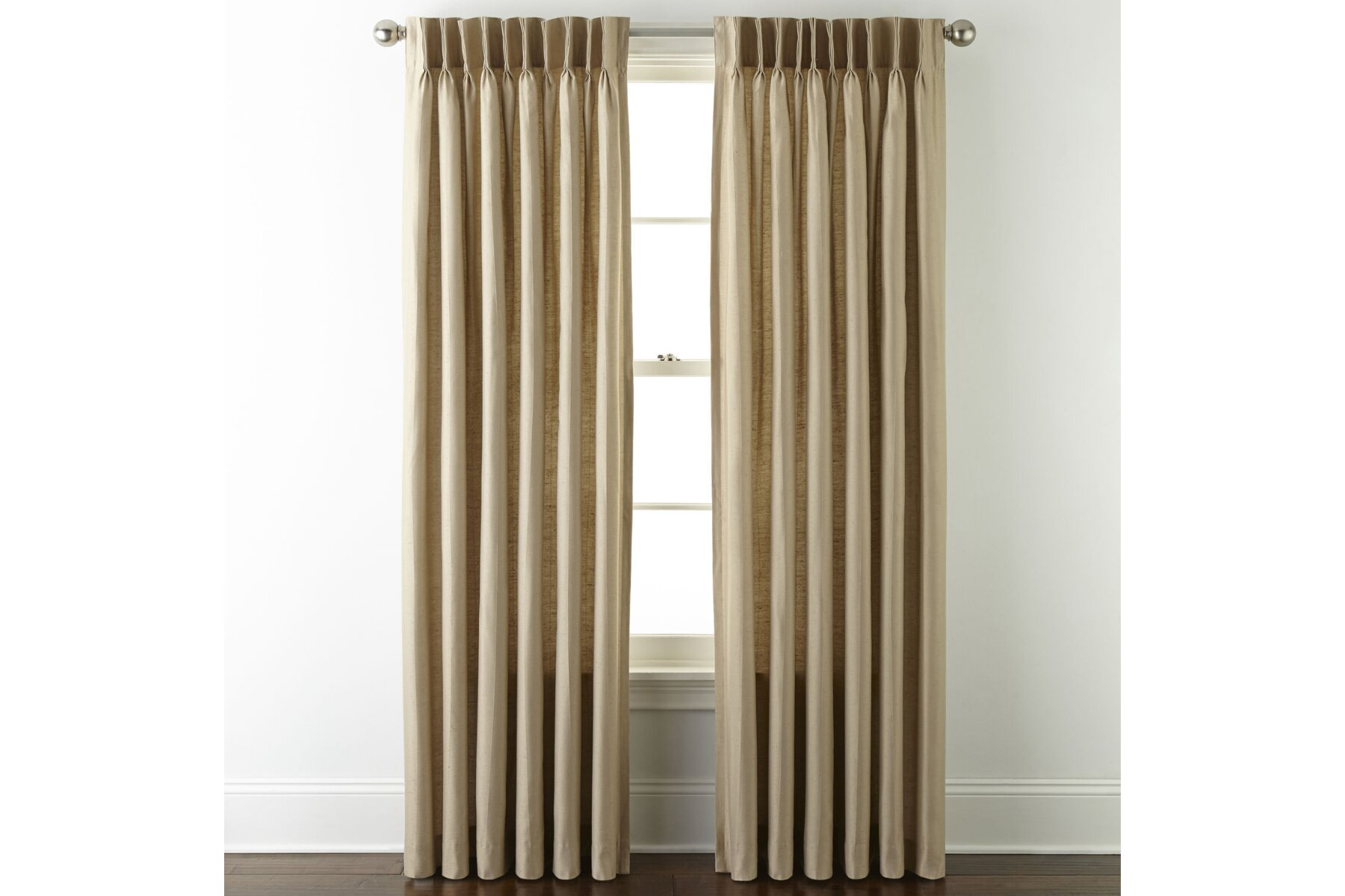 jcpenney home supreme pinch pleat 75 inches width x 95 inches length curtain panel linen new without tags