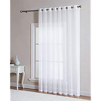 grommet semi sheer 1 extra wide patio curtain panel 102 wide 96 inch long ideal for sliding and patio doors natural light flow material