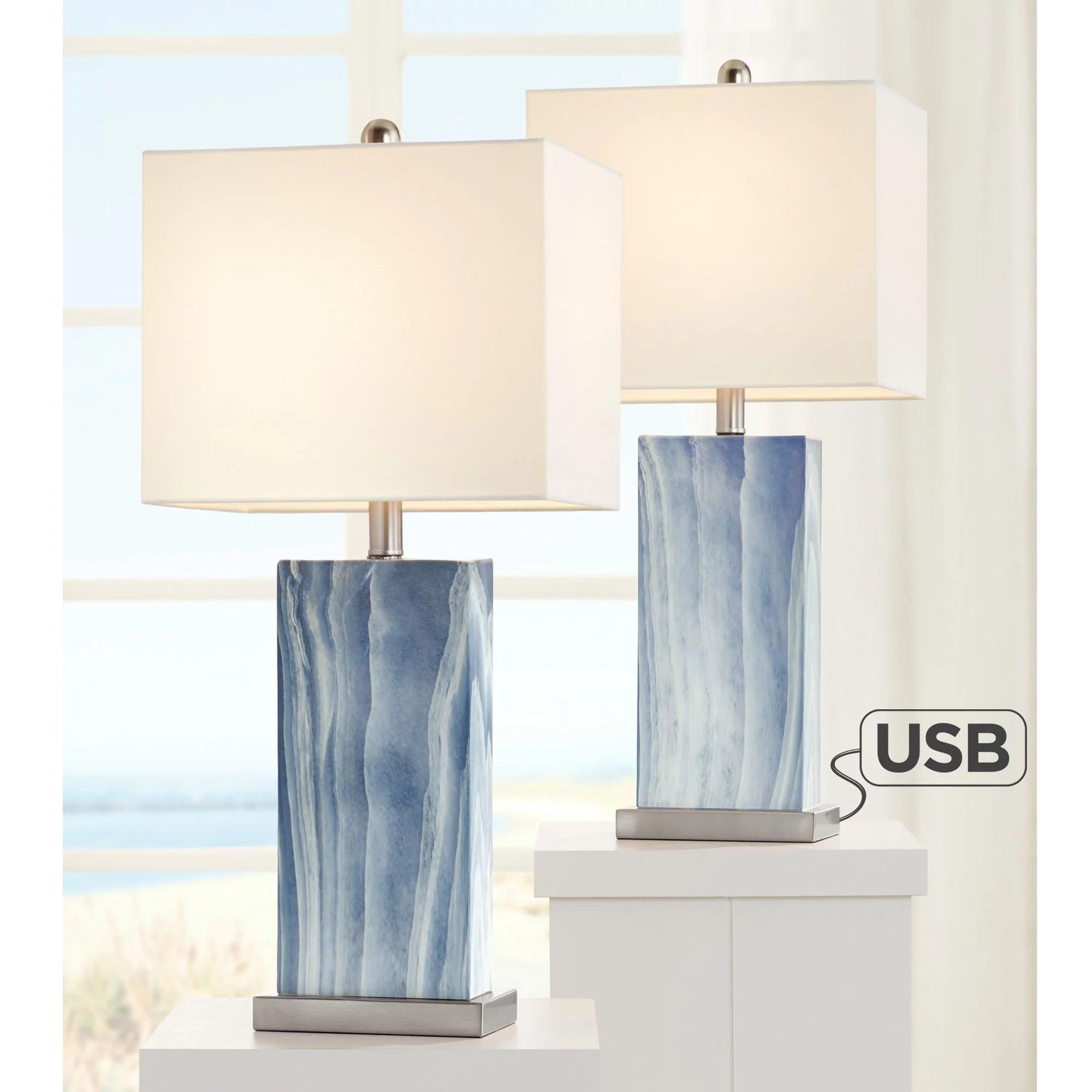 360 Lighting Modern Table Lamps Set Of 2 With Usb Charging Port Rectangular Blue White Fabric Shade Living Room Bedroom Bedside Walmart Com Walmart Com