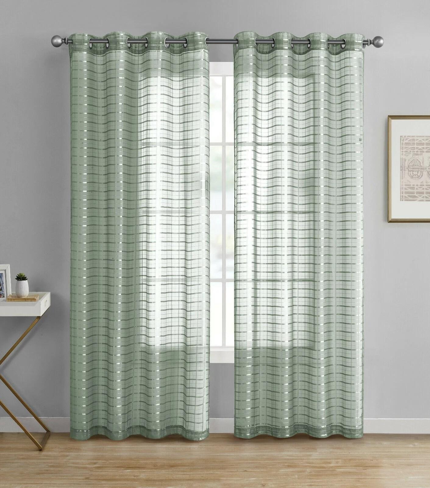 kate aurora living 2 pack semi sheer plaid grommet top window curtains sage green 84 in long walmart com