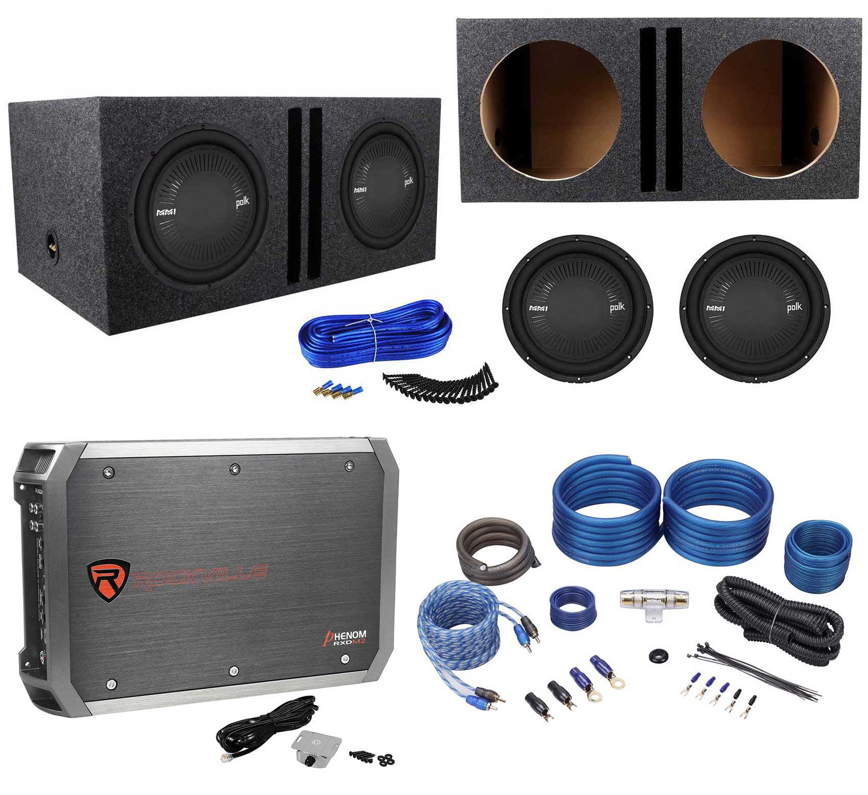 hight resolution of 2 polk audio mm 1242 dvc 12 2520w subwoofers vented box mono amplifier amp kit walmart com