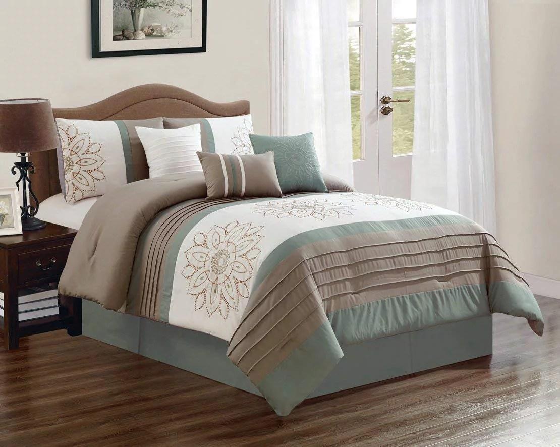 hgmart bedding comforter set bed in a bag 7 piece luxury embroidery microfiber bedding sets oversized bedroom comforters king size sage