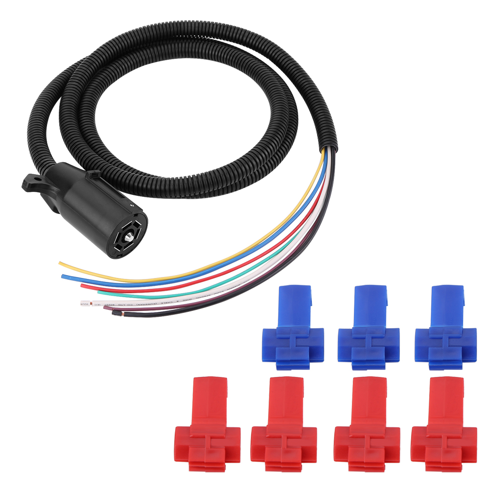 7 way trailer plug cable cord wire harness blade molded connector 5 pin trailer wiring harness [ 1001 x 1001 Pixel ]