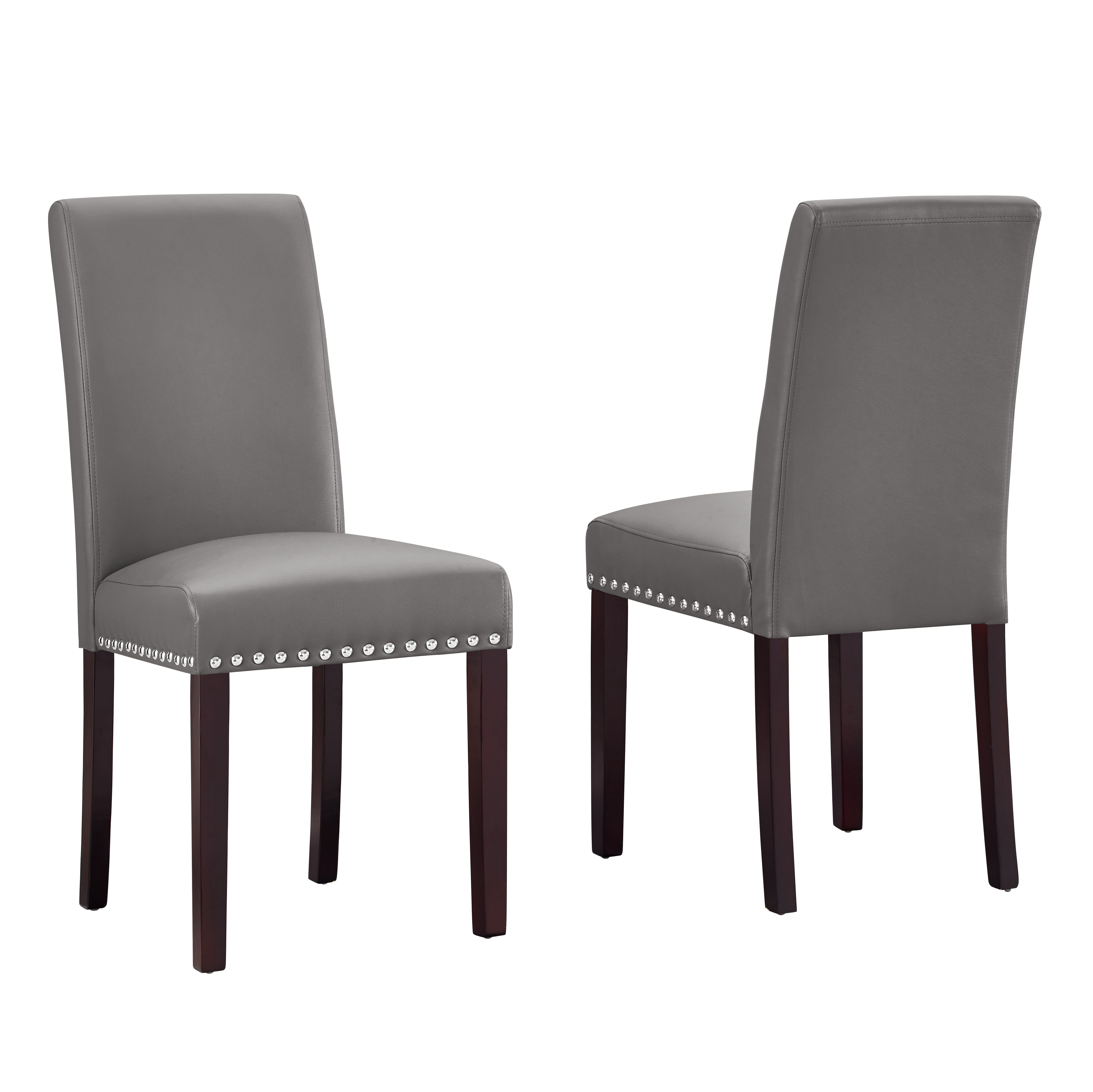 faux leather dining chairs wedding chair cover hire dublin dhi nice nail head 2 pack multiple colors walmart com