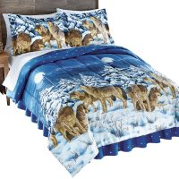 Midnight Wolves And Full Moon Bed Comforter Set with ...